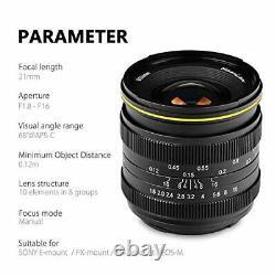 KAMLAN Single Focus Lens Wide-angle 21mm F1.8 for FUJIFILM X Mount APS-C KAM0015
