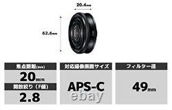 SONY single focus lens E 20 mm F 2.8 Sony E mount for APS-C SEL20F28 from japan