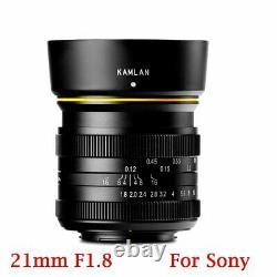 Kamlan 21mm F1.8 Manuel Single Focus Prime Lens E Mount Pour Sony A6000 A6500 A7