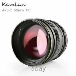 Kamlan 50mm F1.1 Manuel Fix Prime Single Focus Lens E Mount Pour Sony Mirrorless
