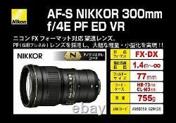 Nikon Af-s Nikkor 300mm F/4e Pf Ed Vr Du Japon