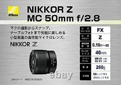 Objectif Macro Monofocus Nikon Nikkor Z MC 50mm F / 2.8 Z Monture Pleine Siz No. 1264