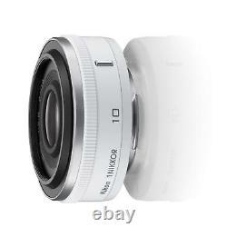 Objectif Monofocus Nikon 1 Nikkor 10mm F/2.8 Blanc Format Nikon CX Seulement Ems Witht