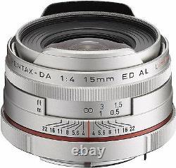 Pentax Super-wide-angle Single Focus Lens Hd Da 15mm F4 Ed Al Limited Silver Nouveau