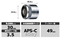 Sony Lentille De Mise Au Point Unique E 30mm F3.5 Macro Sony E Monture Pour Aps-c Sel30m35 Argent